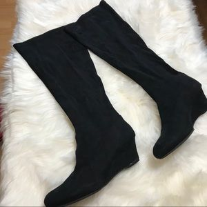 Faux Suede Stretch Knee Length Boots - Size 12W